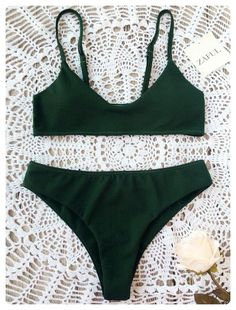1d78d085c7525 Bralette Bikini Set (Blackish green) Bikini Set