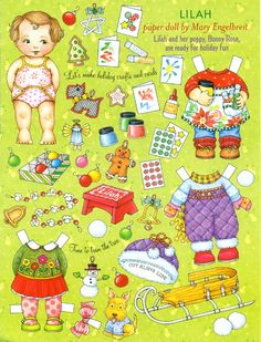 Uncut Paper Doll by Mary Engelbreit Lilah at Christmas Time