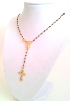 22 Pyrite Gold Rosary Necklace Womens Cross  by divinitycollection, $89.00