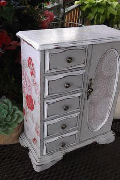 Reserved for Amy Old French Farmhouse Shabby Chic Jewelry Box Handpainted in Linen and White with French General Papers