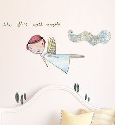 She Flies with Angels Removable Wall Decal