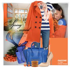 Spring Colors: Orange + Blue by jafashions on Polyvore featuring TWINTIP, Boden, Paige Denim, Gianvito Rossi, CÉLINE and Bindya