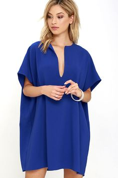 Simply Marvelous Royal Blue Shift Dress at Lulus.com!