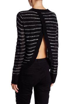 Tulip Back Striped Pullover Sweater