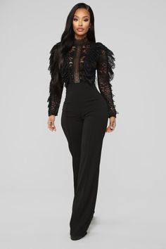Available In Black Lacey Ruffle Jumpsuit Long Sleeve High Neck Semi Sheer Zip Closure At Back Wide Leg Inseam Stretch Self: Polyester Spand. Ruffle Jumpsuit, Jumpsuit Outfit, Black Lace Jumpsuit, Long Jumpsuits, Jumpsuits For Women, Fashion Nova Jumpsuit, Leather Jumpsuit, Looks Black, Swimsuits For Curves