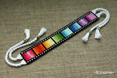 I love the use of variegated thread in this bracelet. Rainbow Film by Kaname-Kirito I love the use of variegated thread in this bracelet. Rainbow Film by Kaname-Kirito Yarn Bracelets, Diy Bracelets Easy, Embroidery Bracelets, Summer Bracelets, Bracelet Crafts, String Bracelets, Memory Wire Bracelets, Diamond Bracelets, Ribbon Embroidery
