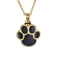 VALYRIA Gold Plated Puppy Dog Paw Print Urn Pendant Necklace Stainless Steel Cremation Jewelry - http://www.thepuppy.org/valyria-gold-plated-puppy-dog-paw-print-urn-pendant-necklace-stainless-steel-cremation-jewelry/
