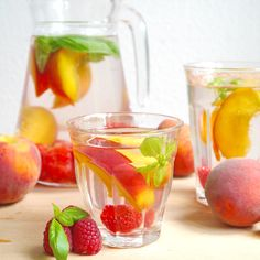Peach, basil and raspberry infused water