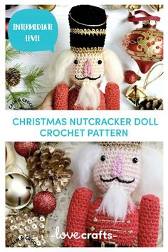 There's nothing like mixing new decorations with old ones to give that feeling of seasonal warmth! This traditionally styled Nutcracker amigurumi will stand smartly to attention as part of a festive shelf arrangement or perhaps displayed on the mantleThe Nutcracker makes a wonderful Christmas decoration or toy - The perfect addition to a Christmas Eve box for the children with the classic story of the 'The Nutcracker'. Or maybe for a ballet fan just before going to see the magi Crochet Christmas Ornaments, Nutcracker Christmas, Christmas Toys, Nutcracker Crafts, Christmas Holiday, Christmas Stockings, Crochet Decoration, Crochet Home Decor, Diy Crochet