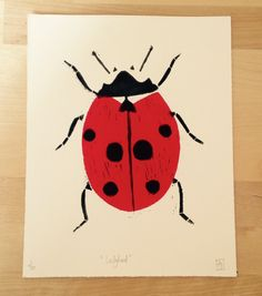 Handprinted 2 colour Ladybird linocut by Rositaprints on Etsy