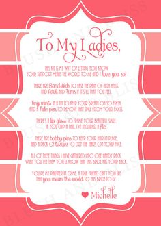 Custom Printable Bridesmaid Survival Kit Poem by BlushAndBliss