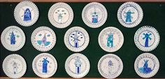 """We have been inspired by Delft Pottery. We wanted to draw something typical """"Dutch"""", so we drew windmills. #Delft #pottery #porcelain #plate #kids #craft #windmill #blue #flowers"""