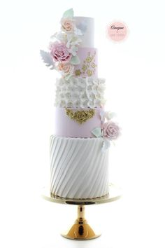 Wedding cake with pink peach and gold - Aimeejane Cake Design