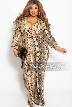 5317b19dd72 New Plus Size Long Sleeve Collar Faux Wrap Jumpsuit with Attached Tie in  Tan and Black Snake Print. Chic And Curvy