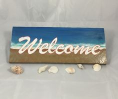 Beach Themed Welcome Sign - Pallet Wood Primitive Beach Chic - Beach Front Door Sign - Beach Gift Idea - Coastal Entry Sign - Tropical Sign by SunStroked on Etsy Pallet Wood, Wood Pallets, Front Door Signs, Sand Painting, Beach Gifts, Paint Background, Tropical Beaches, Surf Style, Hand Painted Signs