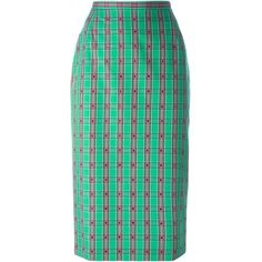 Nº21 Checked Pencil Skirt ($448) ❤ liked on Polyvore featuring skirts, green, high rise skirts, knee length pencil skirt, straight skirt, cotton pencil skirt and cotton skirt
