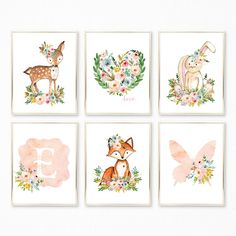 Peach Nursery Art. Peach Nursery Decor. Peach Nursery Prints.