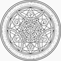 real alchemy transmutation circles - Also nice pattern for washi taped round mirror Occult Symbols, Magic Symbols, Occult Art, Anime Full Metal Alchemist, Tarot, Circle Symbol, Magic Circle, Pentacle, Crystal Grid