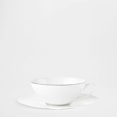 Zastawa stołowa z porcelany kostnej ze srebrną obwódką