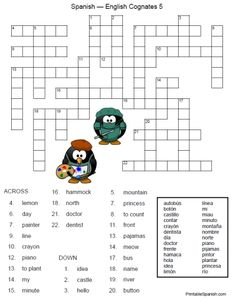 Printable Spanish FREEBIE of the Day: Spanish-English Cognates Crossword Puzzle 5 from PrintableSpanish.com