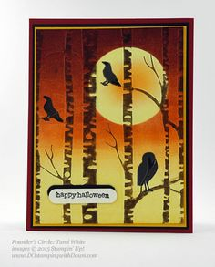 handmade Hallowieen card: Among The Branches Bundle swap shared by Dawn Olchefske ... luv the look created by sponging/brayering on the embossing folder ...