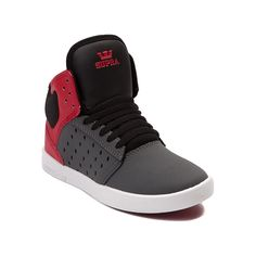 Shop for YouthTween Supra Atom Skate Shoe, Gray Red, at Journeys Shoes. Big time skate style sized down for a smaller crowd. This kids sized Supra Atom sports a synthetic leather upper, textile collar with faux leather ankle padding, and breathable mesh tongue. Features a durable, lightweight rubber cupsole for enhanced board feel and shock-absorbing comfort.