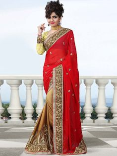 Conspicuous golden brown, red color satin, Georgette saree. Item Code: SLO8108 http://www.bharatplaza.com/new-arrivals/sarees.html