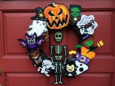 Perler bead Halloween wreath, – Famous Last Words Quilting Beads Patterns Perler Bead Templates, Diy Perler Beads, Perler Bead Art, Pearler Beads, Melty Bead Patterns, Pearler Bead Patterns, Perler Patterns, Beading Patterns, Quilt Patterns