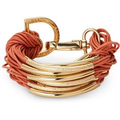 Saachi Terra Cotta C-String Bracelet ($20) ❤ liked on Polyvore featuring jewelry, bracelets, string jewelry, polish jewelry and gold tone jewelry