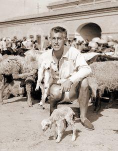 0 stewart granger with a lamb & sheeps