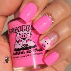 Pink Piggie Nails