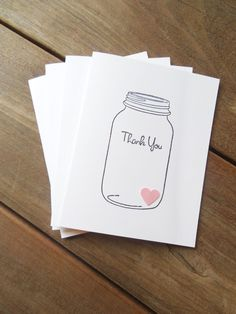 Spring Wedding Thank You Card-Rustic Wedding Thank You Card-Bridal Shower Card-Pink Heart Card-Mason Jar Card-Hand Stamped Card by Lemon Drops & Lilacs on etsy.com