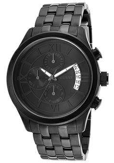 Guess W19525G1 Watches,Men's Chronograph Black Dial Black Ion Plated Stainless Steel, Men's Guess Quartz Watches
