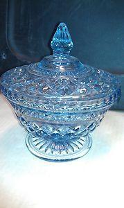 "Beautiful Blue Depression Glass Candy Dish 7"" tall"