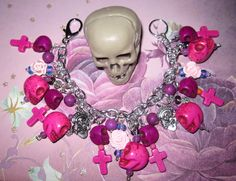 Day of The Dead Charm Bracelet Sugar Skull Jewelry Dia De Los Muertos Beads Mexican Themed Jewelry OOAK Eclectic Statement Piece. $36.00, via Etsy.