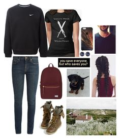 """Just Add Coffee"" by anna-fozo ❤ liked on Polyvore featuring NIKE, Yves Saint Laurent, Susan Caplan Vintage and Herschel Supply Co."
