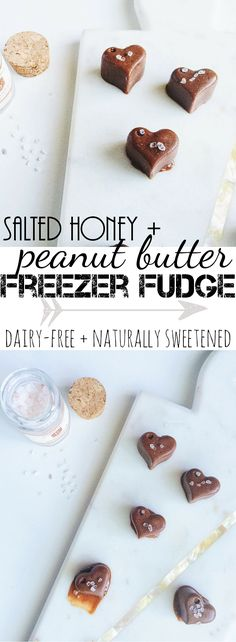 Simple, super easy, and healthy freezer fudge. Made with only 5 simple ingredients: raw cocao, honey, natural peanut butter, coconut oil, and pink Himalayan sea salt. Naturally sweetened, dairy-free, and can easily be made vegan.