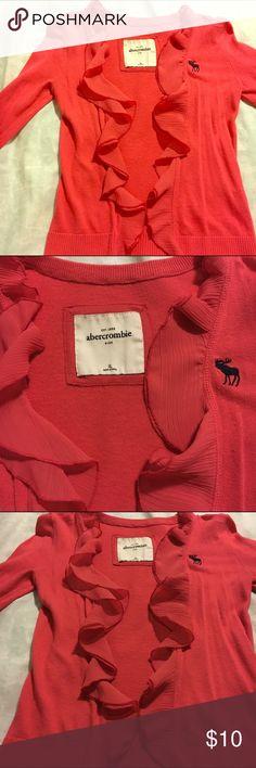 Abercrombie Crop Cardigan Sweater Abercrombie Crop Cardigan Sweater. Coral Color, Size XL (Kids) XS Adult, Three Quarter Sleeved abercrombie kids Sweaters Cardigans