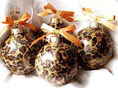 Leopard print Christmas | Animal Print Sparkling Glass Ball LEOPARD Christmas Ornaments, Lot of ...