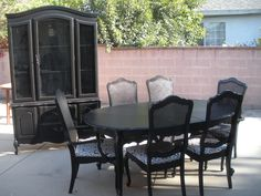 Just finished (and sold :)....black French country hutch and dining room table and chairs.