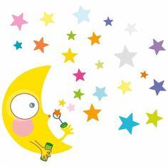 Ce sticker nuit étoilée de la marque Série-Golo apporte un décor ludique et coloré à la chambre d'un enfant. Preschool Door Decorations, Activity Room, Baby Room Design, Kids Storage, Birthday Greetings, Art School, Baby Quilts, Wall Murals, Kids Room