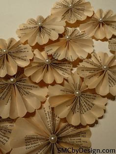 Handmade paper flowers made from book pages this listing is for a handmade paper flowers made from book pages this listing is for a set of 4 paper dahlias each are approximately 16 inches in diameter mightylinksfo