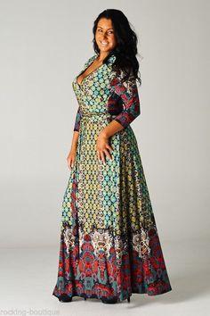 Maxi Wrap Dress Tie Front Boutique Fashion Paisley Print  Boho Chic *PLUS SIZE*  #FashionBoutique #WrapDress #Casual
