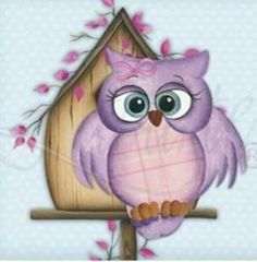 would be cute for a little girls room Tole Painting, Fabric Painting, Painting & Drawing, Decoupage, Owl Clip Art, Owl Pictures, Owl Crafts, Country Paintings, Wise Owl