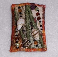 Beaded Art Quilt Pin- Fall Rectangle with Shells and Butterfly