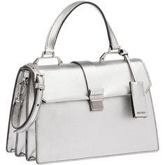 Miu Miu Top Handle (52 570 UAH) ❤ liked on Polyvore featuring bags, handbags, chrome, zip purse, top handle handbags, white handbags, white purse and zipper purse