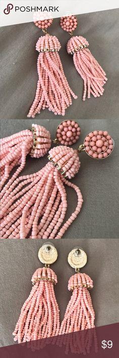 Francesca's Coral Beaded Tassel Earrings Beautiful NWOT never worn! Francesca's Collections Jewelry Earrings