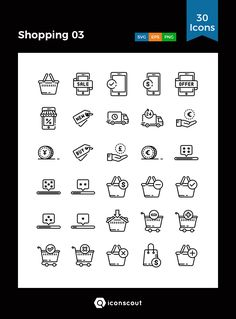 Shopping 03  Icon Pack - 30 Line Icons
