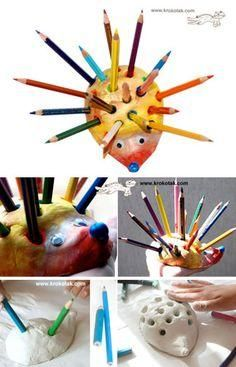 kids art materials: Make a HEDGEHOG Pencil Holder