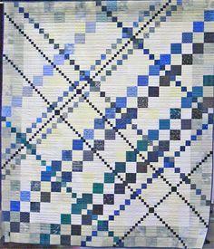 Blue Tartan quilt, 2015 Opportunity Quilt,  Asheville Quilt Guild.